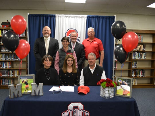 Oakland golf standout Emma Rhea Tenpenny recently signed at Martin Methodist College. Pictured in the front row are her parents Marilyn and Lee Tenpenny. In the back row (l-r) are OHS principal Bill Spurlock, Elliott Tenpenny, OHS golf coach Web Hutchings and Martin Methodist coach Matt Rackley.