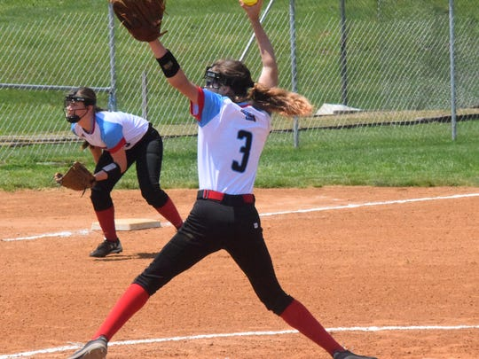 Hannah Carter pitches against Apollo last Saturday while Kailey Jones waits in anticipation.