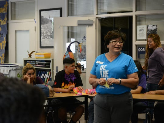 Brenda Kahng talks to students at Desert Hot Springs High School at suicide warning signs and what to do if they are concerned about themselves or someone they know. Brenda is the president of the Inland and Coachella Valley chapter of the American Foundation for Suicide Prevention.