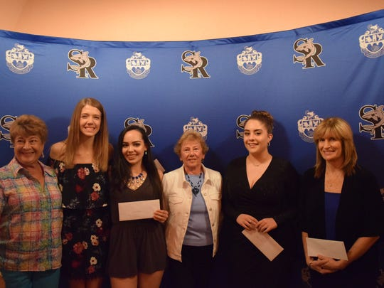 Scholarship recipients Barbara Munson, Committee member; Sierra Ritchey; Valeria Ovalles; Ashley Ahearn, Committee chair; Gianna O'Neill and Mrs. Fahey accepting for daughter Allison Fahey