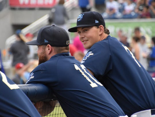 Mobile BayBears catcher Wade Wass talks with pitcher