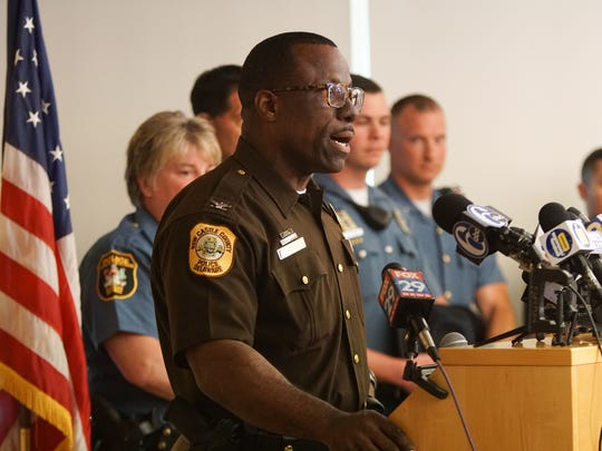 Col. Vaughn Bond of the New Castle County Police speaks at a news conference earlier this year.