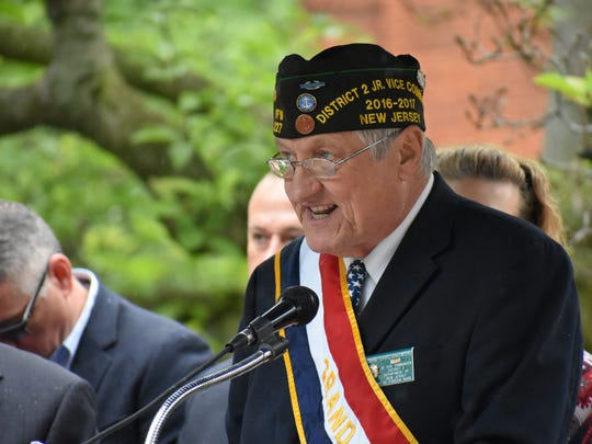 Rutherford Memorial Day Parade's Grand Marshal John Chrzanowski served in Vietman and relayed his experiences to the crowd in front of borough hall.