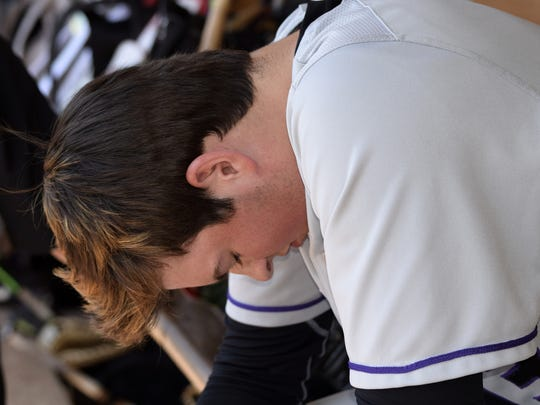 CHCA pitcher Griffan Smith takes a moment for quiet