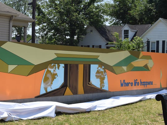 A mural designed by 18-year-old Josiah Blasser was