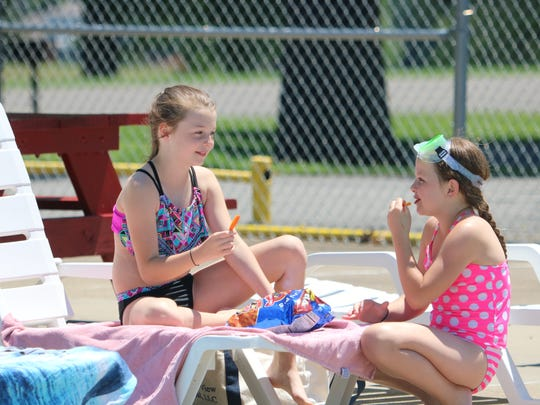 Brylie Tucker (left) and Raylon Brooks enjoy a snack during a break from swimming.