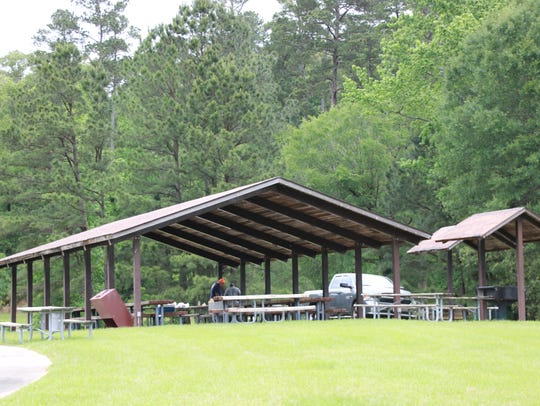 A pavilion on Caney Lake at Kisatchie National Forest