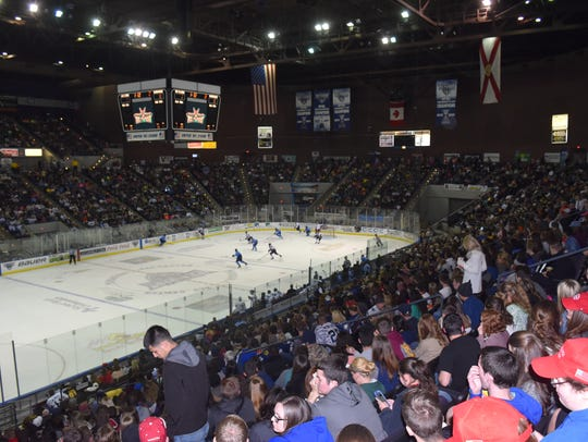 A sellout crowd of 8,049 watched the Pensacola Ice Flyers play last year on March 4, 2017 at the Bay Center as part of the $5 ticket weekend. An economic study found the two-day attendance of 14,000-plus brought nearly $1 million worth of economic impact.