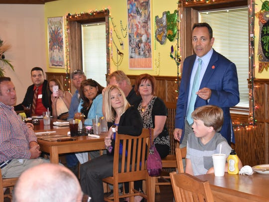 Governor Matt Bevin speaks to the crowd gathered at the Feed Meal Restaurant for a Wednesday luncheon.