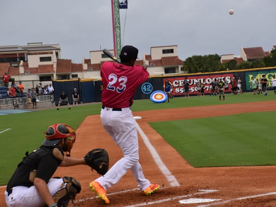 The Blue Wahoos Gabriel Guerrero hits one of his 29