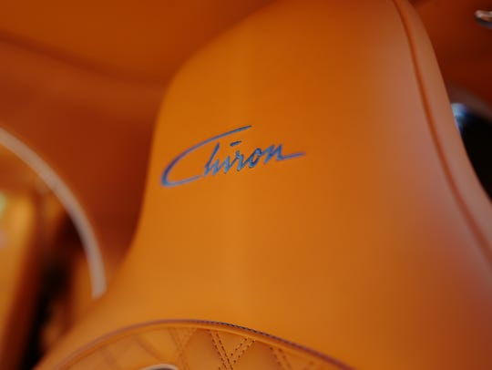 The leather interior of the $3 million Bugatti Chiron