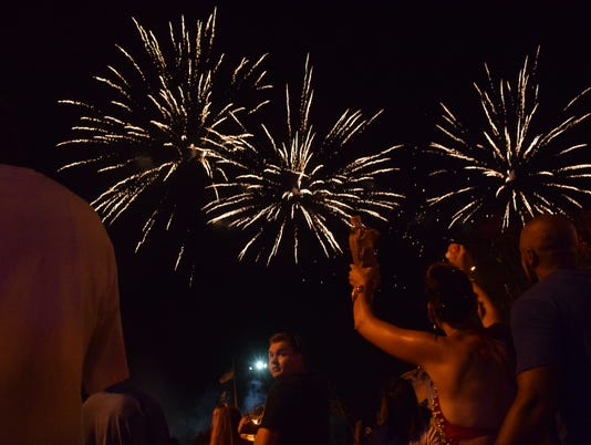 """Fourth of July """"Rock the Red"""" and """"Burnt Weenie Festival"""" held Saturday, July 1, 2017 in downtown Alexandria. Splash Pads, music, food and games were part of the festivities. The day ended with a fireworks display on the Red River."""