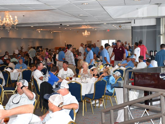 Part of the large gathering Sunday at the Pensacola