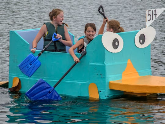 The Welling family's Perry the Platypus cardboard boat, midway through the 2014 Crazy Cardboard regatta at Voice of America Park. The annual event takes place this Saturday.