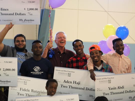 Boys and Girls Club of Burlington scholarship winners with Ernie Pomerleau, whose family  gift to the club made the scholarships possible, on July 11, 2017.