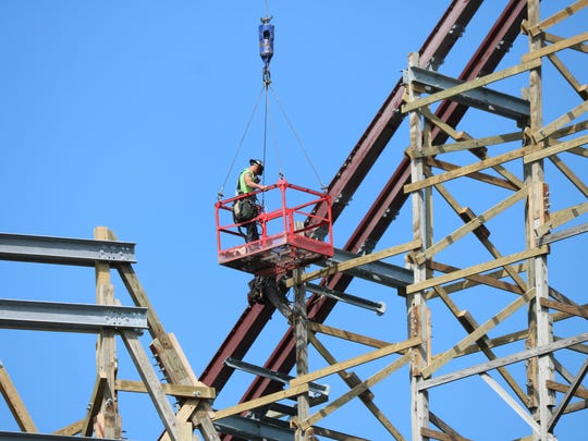 Construction crews continue to work a new roller coaster at Cedar Point in Frontier Town, where the Mean Streak once stood. The new ride is set to open in 2018, but few details are known at this time.