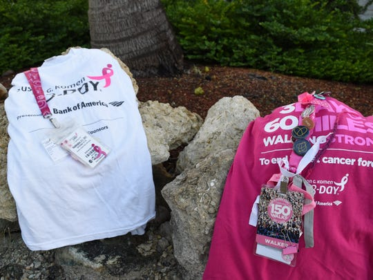 Annemarie Zoller, 28, keeps mementos of all the Susan G. Komen 3-day, 60-mile walks she's participated in. This is her third year raising money and awareness for breast cancer for the annual walk.