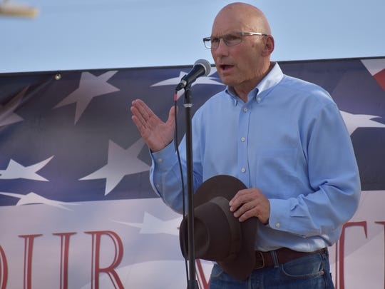 Mick Rich, a New Mexico construction contractor, talks about his run for the US Senate against Martin Heinrich during Saturday's Ice Cream Social.