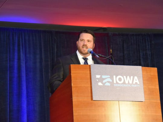 Troy Price, Iowa Democratic Party chairman, speaks at the party's Hall of Fame event on July 27, 2017, in Des Moines.