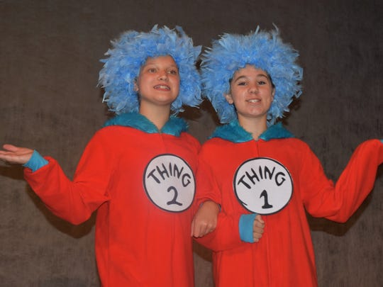 "Thing One and Thing Two are part of the Youth Player performance of ""Seussical."""