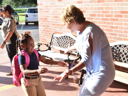 Cherokee Elementary School principal Bonnie Lord (right)
