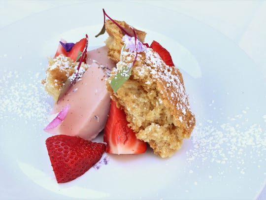 Strawberry shortcake panna cotta is among the house-made