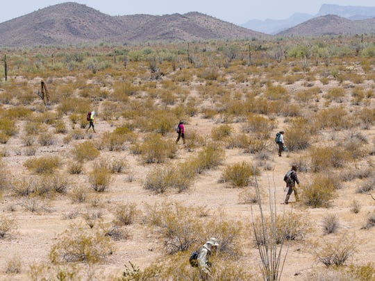 June 23, 2017. Ajo, Arizona, USA; Humanitarian group, No More Deaths, volunteers search for the remains of migrants who died in remote rugged terrain after crossing the U.S. border illegally in triple-digit temperatures through the Organ Pipe Cactus National Monument near Ajo, Arizona. Mandatory Credit: Nick Oza/The Arizona Republic via USA TODAY NETWORK