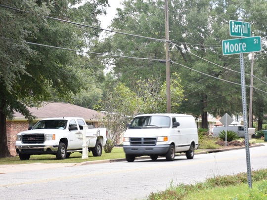 A van travels west on Berryhill Road toward Moore Street on Tuesday, Aug. 22, 2017 in Milton. The city plans to add two stop signs on Berryhill Road at the intersection with Moore Street and at two other locations in the area to control speeding.