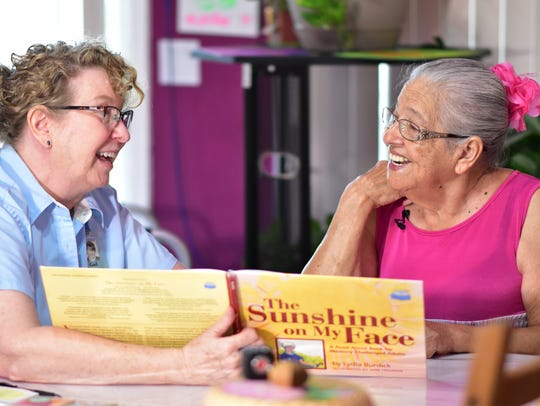 Dementia care educator Gail Higgenbotham connects with