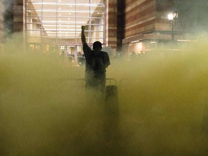Protesters were tear gas by Phoenix Police outside