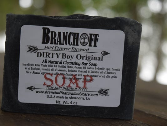 Sarah Elizabeth Bernard and husband Mark Bernard co-own BRANCHOFF, a local body and skin care business. Their most popular soap is called Dirty Boy Original. The soap has activated charcoal and patchouli as some of its ingredients. The activated charcoal, says Bernard, acts like a magnet and draws out dirt and grime. The patchouli, she added is good for odors.