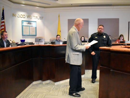 Mayor Richard Boss presents two proclamations to Alamogordo