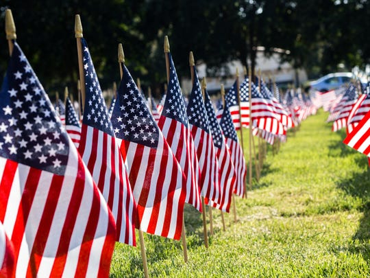 Flags representing the victims of the Sept. 11, 2001, terrorist attacks in New York, Washington and Pennsylvania are on display as part of an annual memorial at the front entrance of Bob Jones University on Wade Hampton Boulevard in Greenville