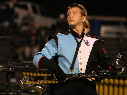 Jacob Mosely concentrates as he performs with the Band of Braves during halftime at the first home game of the season.