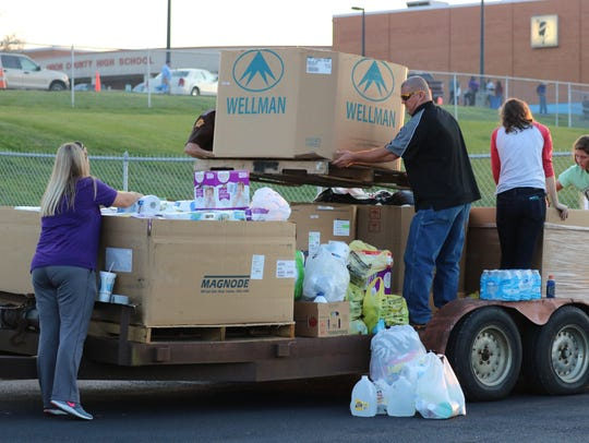 Many Union County residents brought supplies with them
