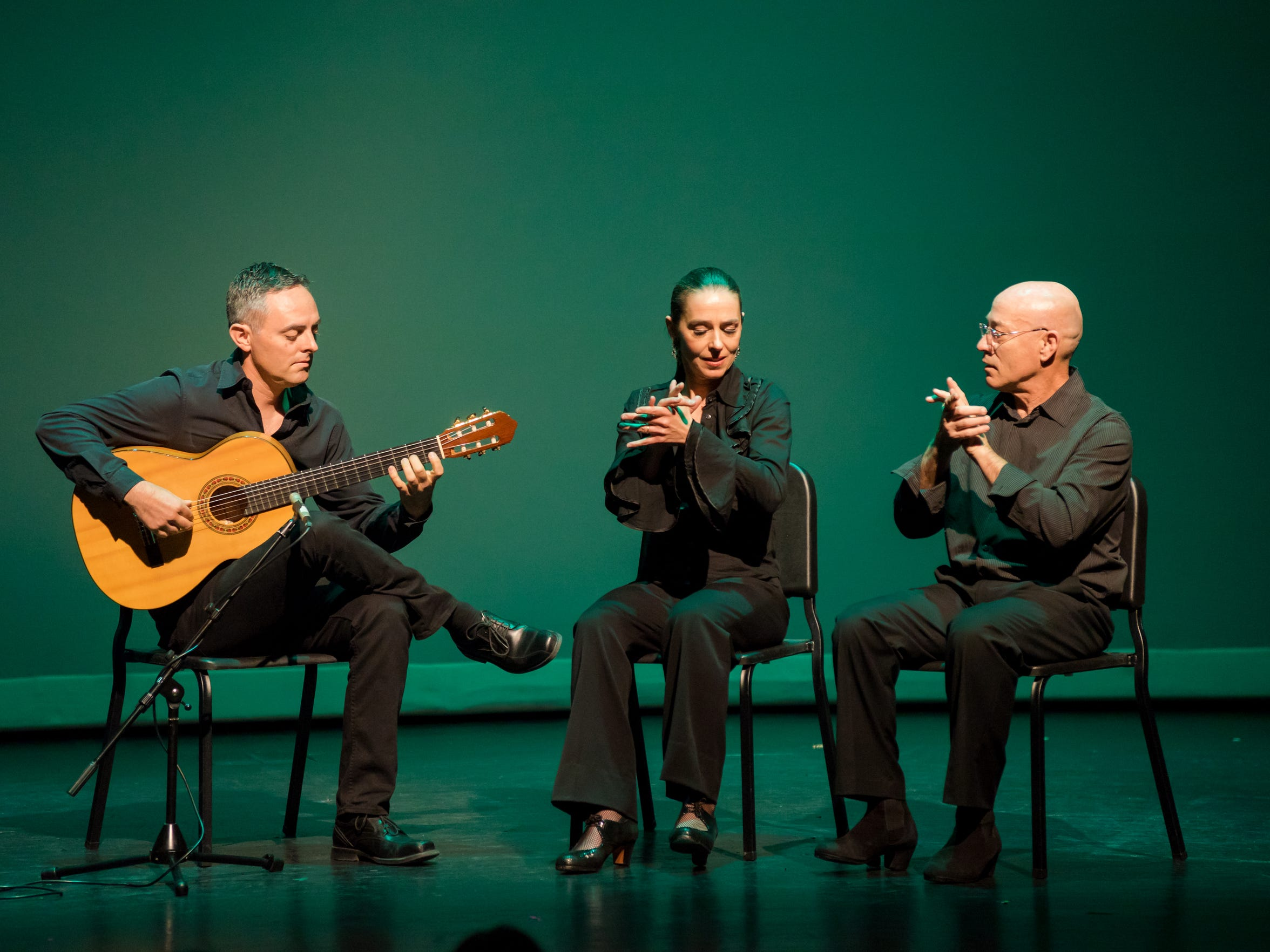 From left to right, guitarist Jake Mossman and rhythmic accompanists Lucilene de Geus and Paco Antonio. The three will perform with flamenco dancer La Emi and singer Vicente Griego on Friday, as part of Flamenco Fridays.