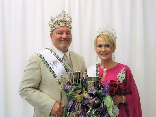 Krewe Dionysos-Natchitoches King XX Dennis Bryant and Queen Darlene McElwee at the coronation.