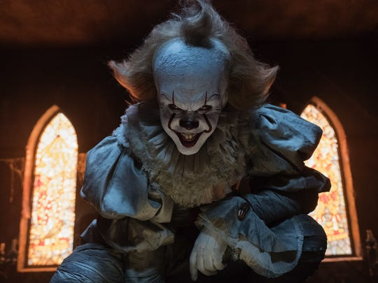 "Bill Skarsgard plays Pennywise the clown in ""It."""