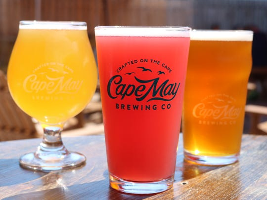 A trio of beers keep company at Cape May Brewing Company.
