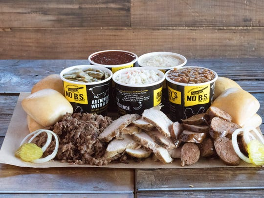 A family-style meal offered at Dickey's Barbecue Pit.