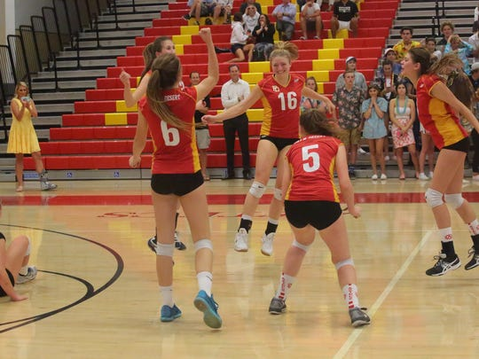 Palm Desert pulls off a win against Xavier Prep in a tight five set match, Thursday, September 21, 2017.