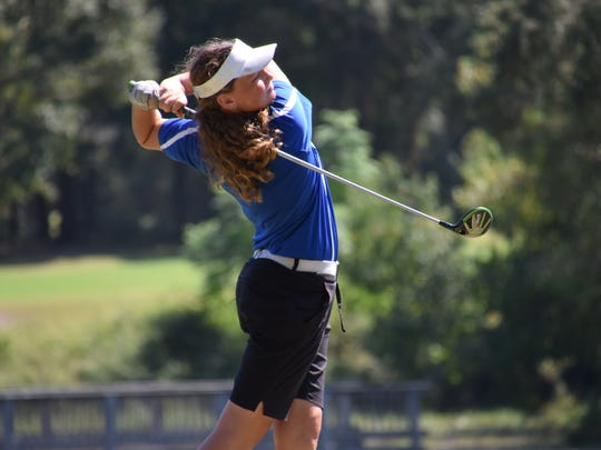 Jay HIgh's Sarah Edwards follows through on a tee shot during her round at the FCA Girls High School Tournament at A.C. Read.