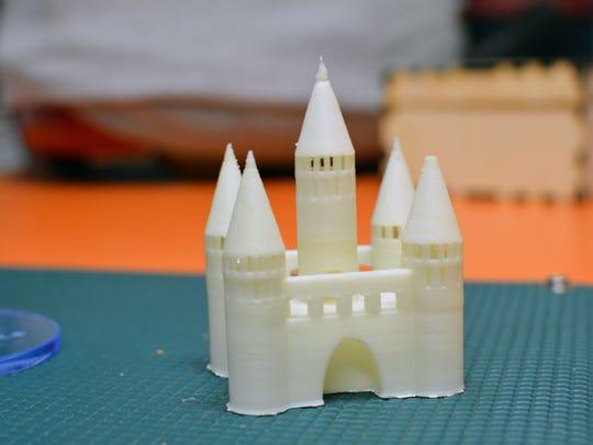 A 3-D printed castle which Garrett Porfield built in