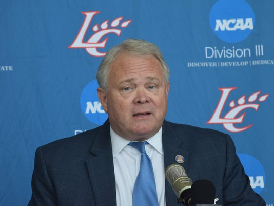 Dr. Rick Brewer, president of Louisiana College, announces at a press conference Thursday that men's and women's basketball games for the 2017-18 season will be played at the Rapides Parish Coliseum.