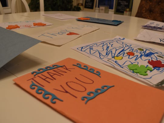 The Dooney sisters helped write these 'thank you' cards to emergency personnel for their Hurricane Irma response. The 'thank you' cards were shown in a three-minute video created and shared by 9-year-old Samantha.