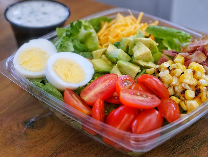 A chopped salad at Mission Possible Cafe.