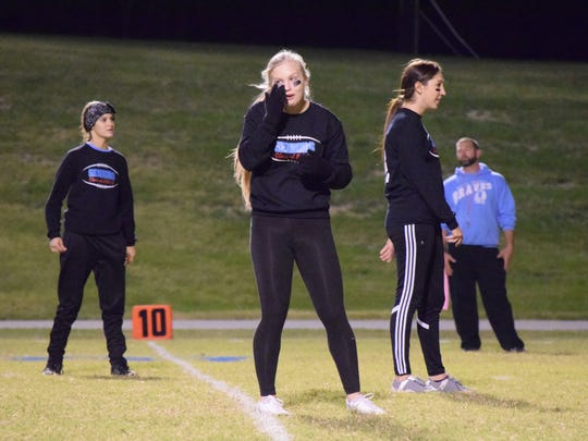 Macy Simpson prepares for the play.