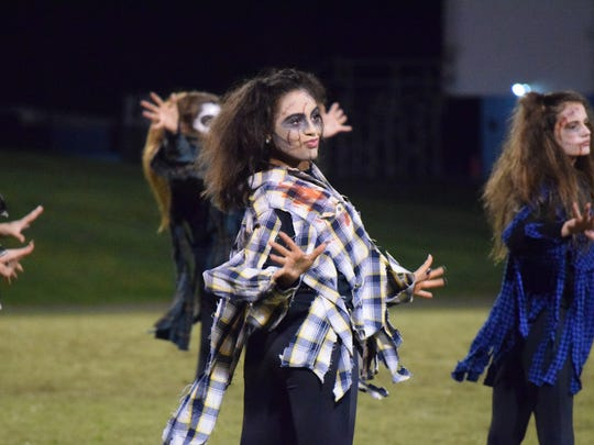 """Aubree Mills, dressed as a zombie for the teams """"Thriller"""""""