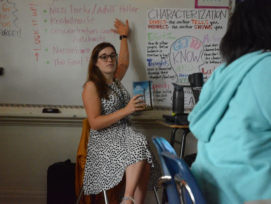 Seventh-grade English teacher Laura Clark instructs students at Bailey APAC Middle School. Bailey is one of the top performers in the Jackson Public Schools system. The school earned an A and is the fifth highest-performing middle school in the state, according to the Mississippi Department of Education's accountability ratings.