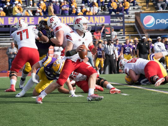 Austin Peay quarterback Jeremiah Oatsvall drops back for a pass against Tennessee Tech on Saturday, Nov. 4 in Cookeville, Tennessee.